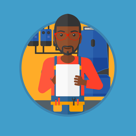 An african-american young plumber in overalls making some notes in his clipboard. Plumber inspecting heating system in boiler room. Vector flat design illustration in the circle isolated on background Illustration