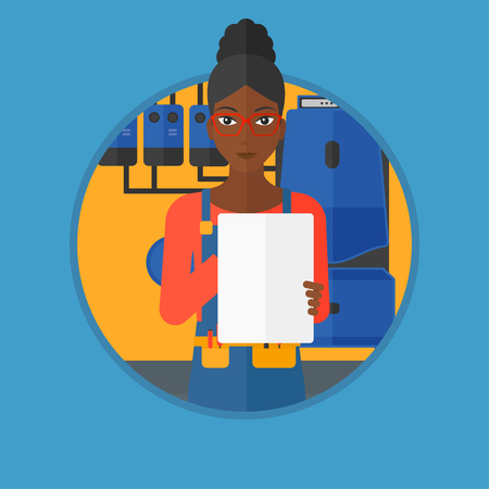 inspecting: African-american female plumber in overalls making some notes in her clipboard. Plumber inspecting heating system in boiler room. Vector flat design illustration in the circle isolated on background.