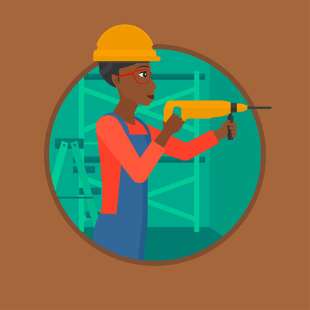 hammer drill: An african-american female worker drilling a hole in the wall. Young woman in overalls and hard hat working with hammer drill. Vector flat design illustration in the circle isolated on background.