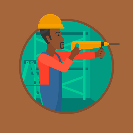 hammer drill: An african-american worker drilling a hole in the wall. Young man in overalls and hard hat working with hammer drill indoors. Vector flat design illustration in the circle isolated on background.