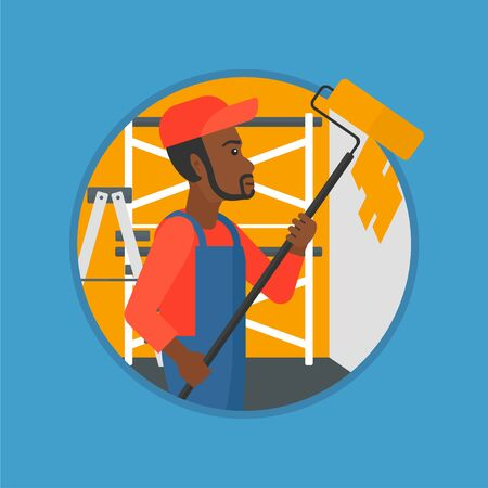 house painter: An african-american painter in overalls with a paint roller in hands. Painter painting walls with a paint roller in an apartment. Vector flat design illustration in the circle isolated on background.