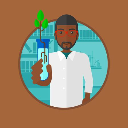An african-american scientist holding test tube with young plant. Young male scientist analyzing sprout in test tube. Vector flat design illustration in the circle isolated on background.