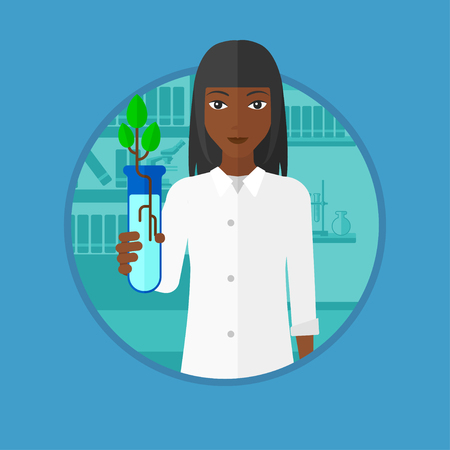 female scientist: An african-american young scientist holding test tube with young plant. Female scientist analyzing sprout in test tube. Vector flat design illustration in the circle isolated on background. Illustration