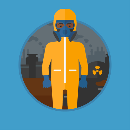 protective: An african-american man in gas mask and radiation protective suit standing on a background of nuclear power plant. Vector flat design illustration in the circle isolated on background.