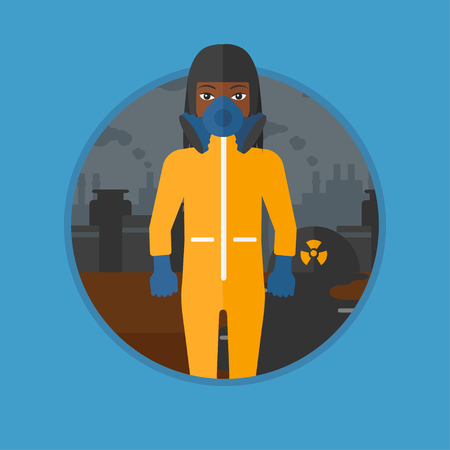 An african-american woman in gas mask and radiation protective suit standing on a background of nuclear power plant. Vector flat design illustration in the circle isolated on background.