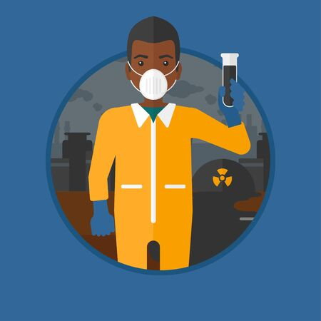 radiation suit: An african-american man in radiation protective suit holding a test-tube with black liquid on a background of nuclear power plant. Vector flat design illustration in the circle isolated on background.