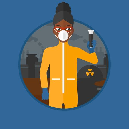 protective suit: African-american woman in radiation protective suit holding a test-tube with black liquid on a background of nuclear power plant. Vector flat design illustration in the circle isolated on background.