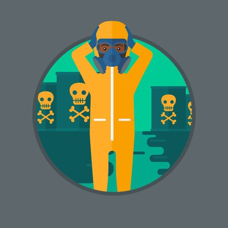 radiation suit: An african man in radiation protective suit clutching head while standing in polluted water on a background of radioactive barrel. Vector flat design illustration in the circle isolated on background.