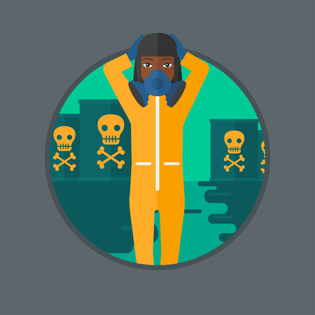 protective suit: An african-american woman in mask and radiation protective suit standing in polluted water on a background of radioactive barrel. Vector flat design illustration in the circle isolated on background. Illustration