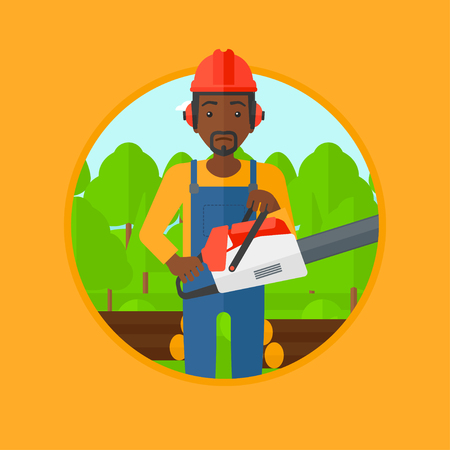 woodcutter: An african-american woodcutter holding a chainsaw. Woodcutter in workwear, hard hat and headphones at the forest with logs. Vector flat design illustration in the circle isolated on background.