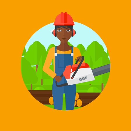woodcutter: An african-american female woodcutter holding a chainsaw. Woodcutter in workwear, hard hat and headphones at the forest with logs. Vector flat design illustration in the circle isolated on background.