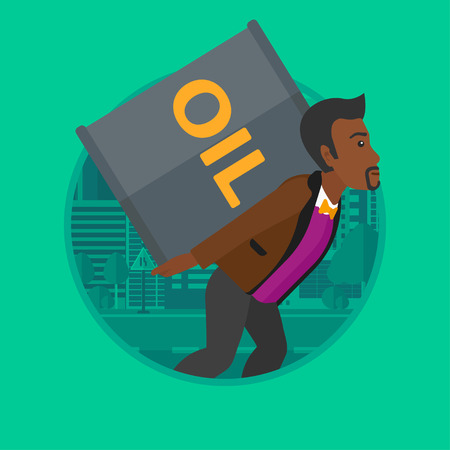 barril de petr�leo: An african-american man carrying an oil barrel on his back. Young man with oil barrel walking on a city background. Vector flat design illustration in the circle isolated on background. Vectores