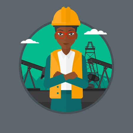 pump jack: African-american oil worker in uniform and hard hat. An oil worker with crossed arms. Woman standing on a background of pump jack. Vector flat design illustration in the circle isolated on background.