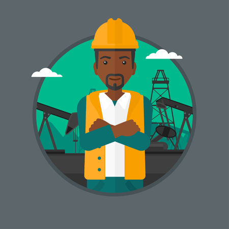 oil worker: An african-american oil worker in uniform and helmet. An oil worker with crossed arms. Man standing on a background of pump jack. Vector flat design illustration in the circle isolated on background.