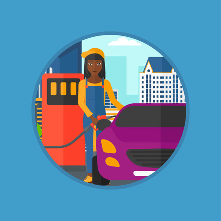 filling station: African-american female worker filling up fuel into the car. Woman in workwear at gas station. Gas station worker refueling a car. Vector flat design illustration in the circle isolated on background. Illustration