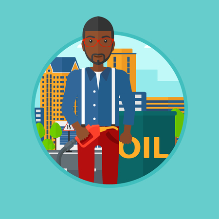 barril de petr�leo: African-american man standing near oil barrel. Man holding gas pump nozzle on a city background. Man with gas pump and oil barrel. Vector flat design illustration in the circle isolated on background.