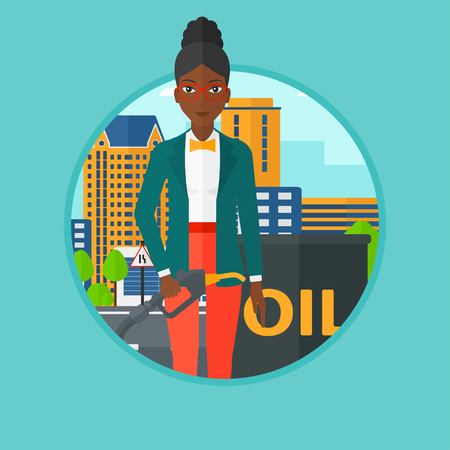 refilling: An african-american woman standing near oil barrel. Young woman holding gas pump nozzle on a city background. Vector flat design illustration in the circle isolated on background.