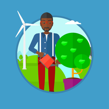 An african-american man watering tree growing in pot on the background of wind turbine. Concept of environmental protection. Vector flat design illustration in the circle isolated on background.