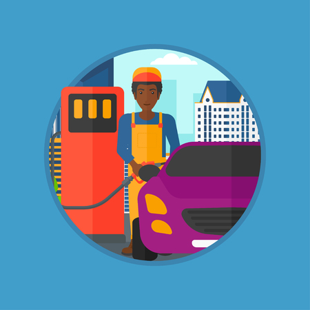 refilling: An african-american worker filling up fuel into the car. Worker in workwear at the gas station. Gas station worker refueling a car. Vector flat design illustration in the circle isolated on background