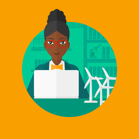 An african-american woman working in office with laptop and model wind turbines on the table. Concept of green energy. Vector flat design illustration in the circle isolated on background.