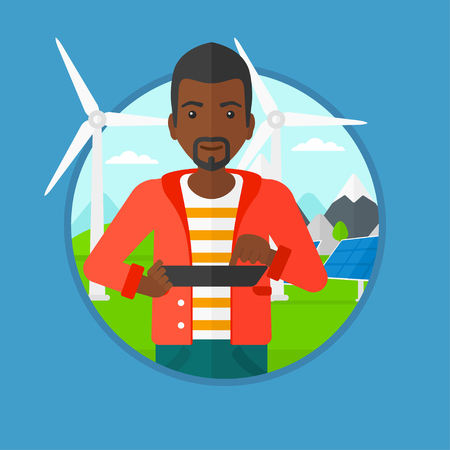 An african worker of solar power plant and wind farm working on tablet computer on a background of solar panels and wind turbines. Vector flat design illustration in the circle isolated on background.