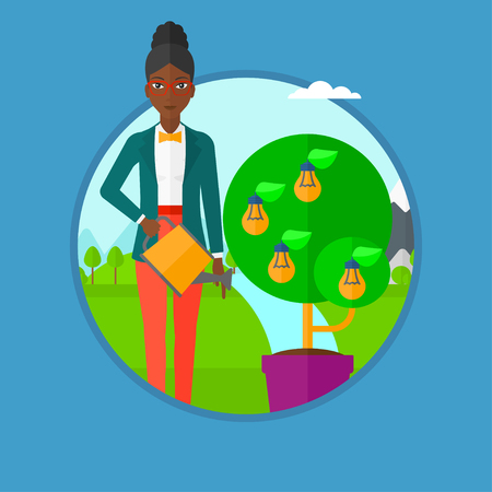 watering pot: An african-american woman watering tree growing in pot on the background of wind turbine. Concept of environmental protection. Vector flat design illustration in the circle isolated on background.