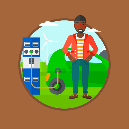 plugging: An african-american young man charging electric car at charging station. Man standing near power supply for electric car charging. Vector flat design illustration in the circle isolated on background. Illustration