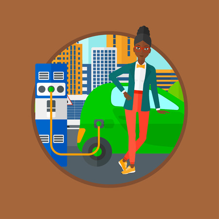 plugging: An african-american woman charging electric car at charging station. Woman standing near power supply for electric car charging. Vector flat design illustration in the circle isolated on background.