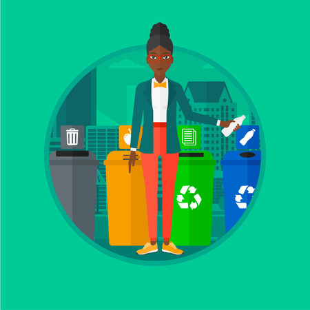 An african-american woman standing near four bins on a city background and throwing away plastic bottle in an appropriate bin. Vector flat design illustration in the circle isolated on background. Illustration