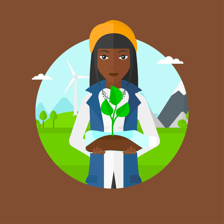 African woman holding plastic bottle with plant growing inside. Woman holding plastic bottle used as plant pot. Recycling concept. Vector flat design illustration in the circle isolated on background.
