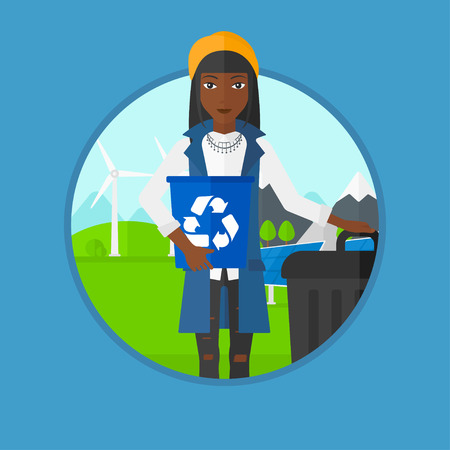 recycling: African-american woman holding recycling bin in hand and standing near trash can on a background of wind turbine and solar panel. Vector flat design illustration in the circle isolated on background. Illustration