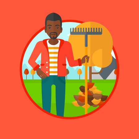 An african-american man raking autumn leaves. Man with rake standing near tree and heap of leaves. Man tidying leaves in garden. Vector flat design illustration in the circle isolated on background. Illustration