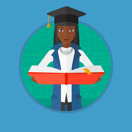 encyclopedia: An african-american graduate in graduation cap holding an open book in hands. Graduate on a background of green blackboard with mathematical equations. Vector flat design illustration in the circle.
