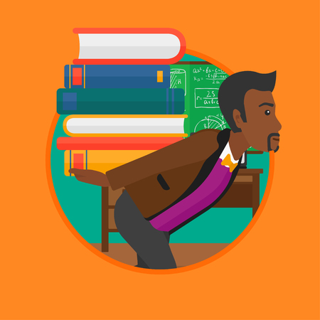 An african-american tired student carrying a heavy pile of books on his back. Student with pile of books in the classroom. Vector flat design illustration in the circle isolated on background.