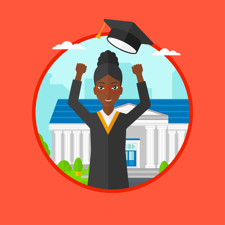 cloak: An african graduate in cloak and graduation hat throwing up her hat. Graduate celebrating on a background of educational building. Vector flat design illustration in the circle isolated on background.