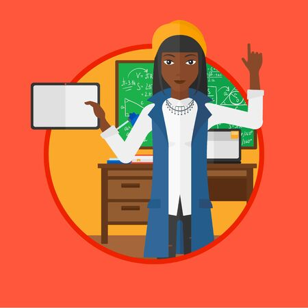 using tablet: An african-american female student using a tablet computer in training class and pointing her forefinger up. Education technology. Vector flat design illustration in the circle isolated on background. Illustration