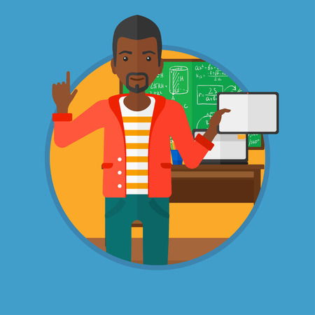 An african-american male student using a tablet computer in training class and pointing her forefinger up. Education technology. Vector flat design illustration in the circle isolated on background. Illustration