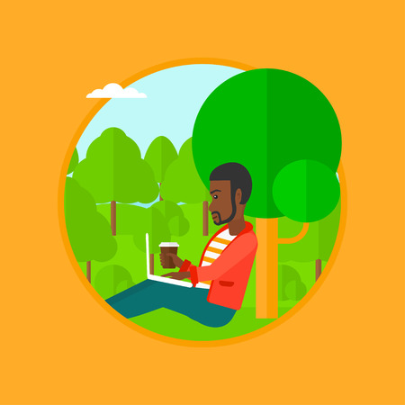 laptop outside: An african-american student with cup of coffee sitting in the park and using laptop. Young man working on laptop outdoor. Vector flat design illustration in the circle isolated on background.