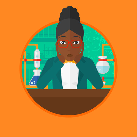 An african student carrying out experiment in science class. Student clutching head at laboratory because of failed experiment. Vector flat design illustration in the circle isolated on background.