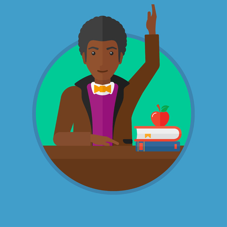 An african-american male student raising hand in the classroom for an answer. Student sitting at the table with raised hand. Vector flat design illustration in the circle isolated on background.