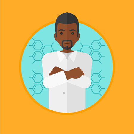 african teacher: An african-american confident laboratory assistant standing with hands crossed on a blue background with molecular structure. Vector flat design illustration in the circle isolated on background.