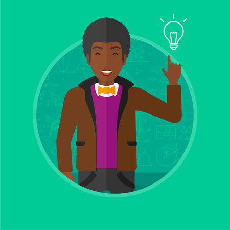 An african-american young man pointing finger up at the light bulb on a background of blackboard with mathematical equations. Vectr flat design illustration in the circle isolated on background. Illustration