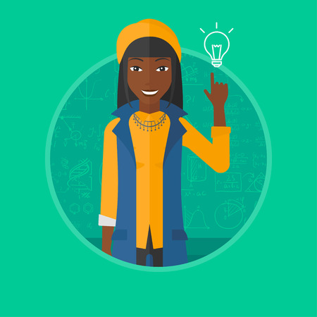 An african-american young woman pointing finger up at the light bulb on a background of blackboard with mathematical equations. Vectr flat design illustration in the circle isolated on background. Illustration
