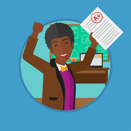 received: An african-american cheerful student with raised hands showing sheet with A grade in the classroom. Student received best mark. Vector flat design illustration in the circle isolated on background.