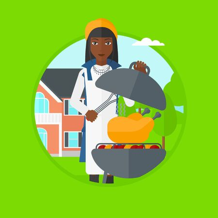 An african woman cooking chicken on barbecue grill in the backyard. Woman having barbecue party and preparing chicken on the grill. Vector flat design illustration in the circle isolated on background