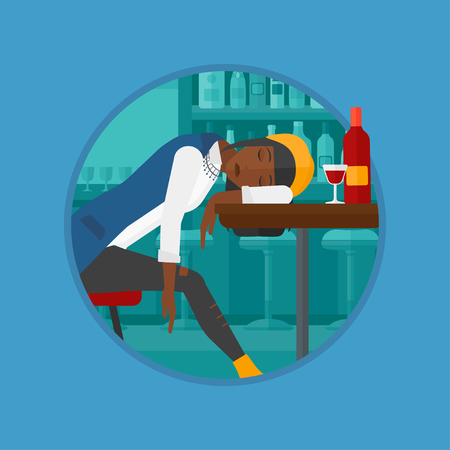 drunkenness: An african-american drunk woman deeply sleeping near the bottle of wine and glass on table. Drunk woman sleeping in bar. Vector flat design illustration in the circle isolated on background.