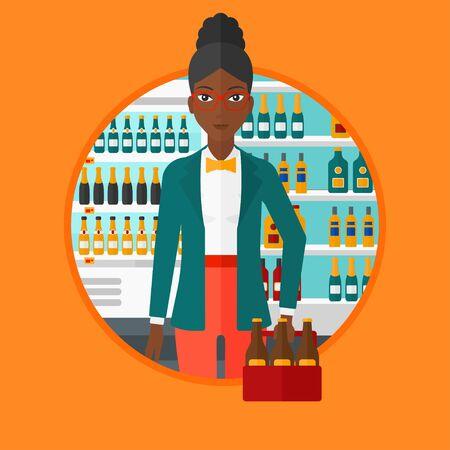 mujer en el supermercado: Una mujer afroamericana de pie en la tienda de alcohol. Mujer que sostiene el pack de cerveza en el supermercado. Mujer que se coloca en la sección de alcohol. Vector ilustración de diseño plano en el círculo aislado en el fondo.