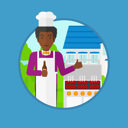 gas man: An african-american man with bottle in hand cooking meat on gas barbecue grill and giving thumb up. Man cooking in the backyard. Vector flat design illustration in the circle isolated on background.