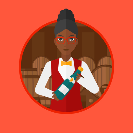 An african-american waitress standing in wine cellar. Waitress with bottle in hands standing on background of wine barrels. Vector flat design illustration in the circle isolated on background.