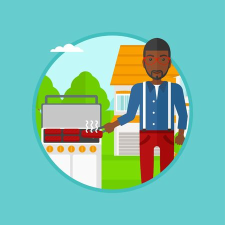 An african man cooking meat on barbecue grill in the backyard. Man preparing food on barbecue grill. Man having outdoor barbecue. Vector flat design illustration in the circle isolated on background.